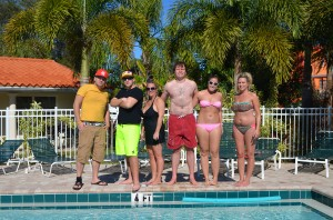 Devon, Kyle, Megan from MI, Zach and Tonya from WI, Mamie from MI all hanging out at Siesta Beach Resort in the Village.