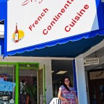 Taylor from SRQ waiting to enjoy some delightful French cuisine at Miguel's on SK