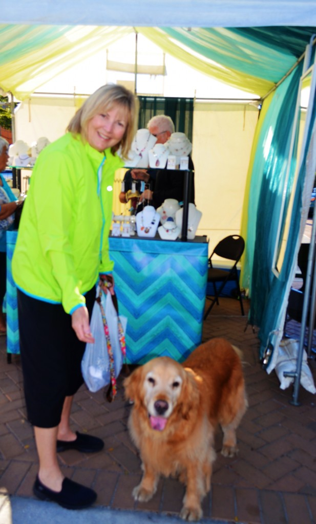Gail with her dog Sparkle from MI