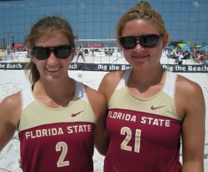 Florida State University No. 1 sand volleyball pair, Aurora Davis (22) a senior from Groveland, FL and Jace Pardon (28) a junior from Manhattan Beach, California. They defeated the No. 1 pair from the University of North Florida in the finals 21-16, 21-14 to win the Fiesta on Siesta Key, Gold Division, College Matchplay Pairs Tournament. Their first year as pair partners, Aurora and Jace have a 25-0 record this year. photo by Trebor Britt