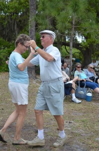 Jane and Lynn from MI dancing to the folk music.