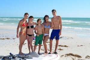 Bikem, Sasha, Bertug, Karla, Burke – all enjoying the surf at Crescent Beach (from Sarasota).