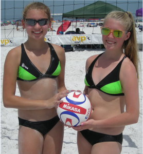 Gabby Culhane (14) and Emma Czaja (14) of Brandon competed in the Siesta Key Junior Beach Tour Grand Slam Volleyball Tournament on Siesta Beach recently. They've competed in 3 tournaments as beach volleyball pairs partners.  In two previous tournaments, they won a bronze medal in one and made it to the semi finals in another. photo by Trebor Britt