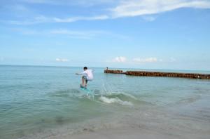 Jonny from Sarasota showing off his boogie boarding skills.