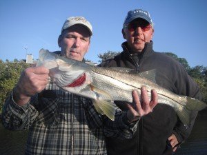 cooler weather will send snook up into the creeks and canals in December.  Jim Whalen from Chicago, IL. landed this nice one on a Rapala.