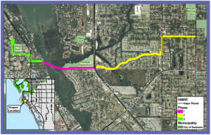 A new sewer force main will be constructed in phases. The map shows areas that will be impacted by construction.