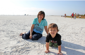 Carmen from TX and Jackson, age 2, from SRQ.  Beach bonding time…