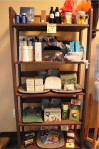 Connie Lewis also sells a selection of spa products at her Massage Experience location.