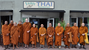 As is Thai tradition, Buddhist monks performed a blessing for the opening of the new dining room. A morning ceremony took place with monks chanting then an offering of food by the guests. The Blessing was well attended and included 12 monks from different Thai temples.