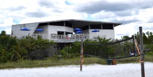 The new two-story Siesta Beach Pavilion over looks the volleyball courts, the powdery white sands of Siesta Beach and the tranquill emerald green waters of the Gulf of Mexico.
