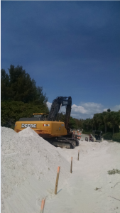 White mined sand from northeast of Plant City used on Longboat Key. The mined sand was used to establish the staging for the beach ground work. Photo by Catherine Luckner