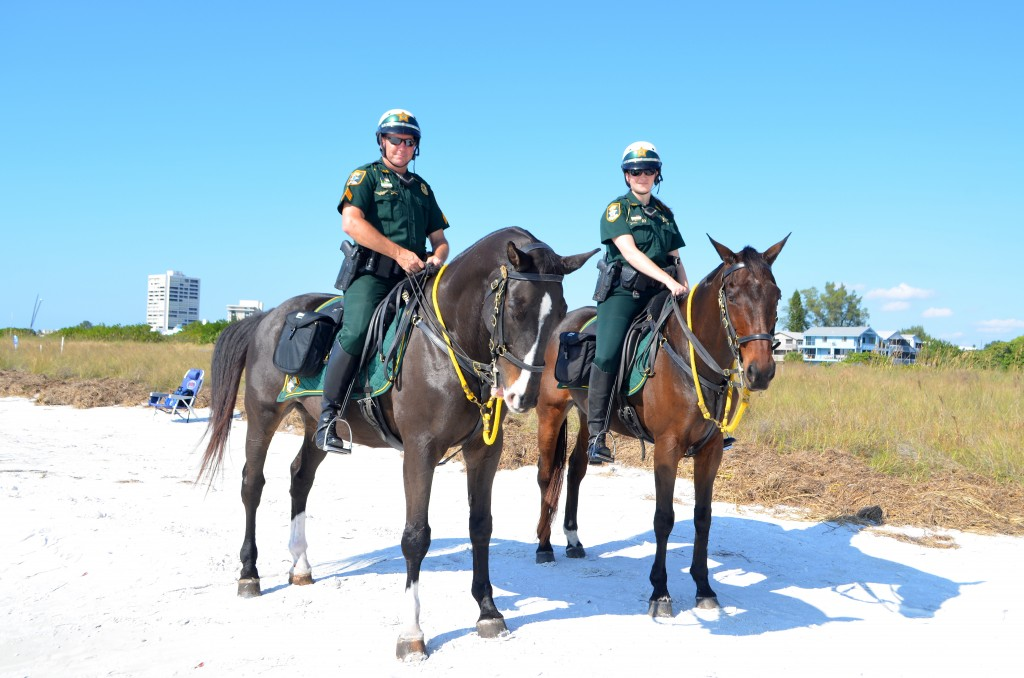 mounted officer's Chris, and Mariah and their horses – Sentinel & Valor
