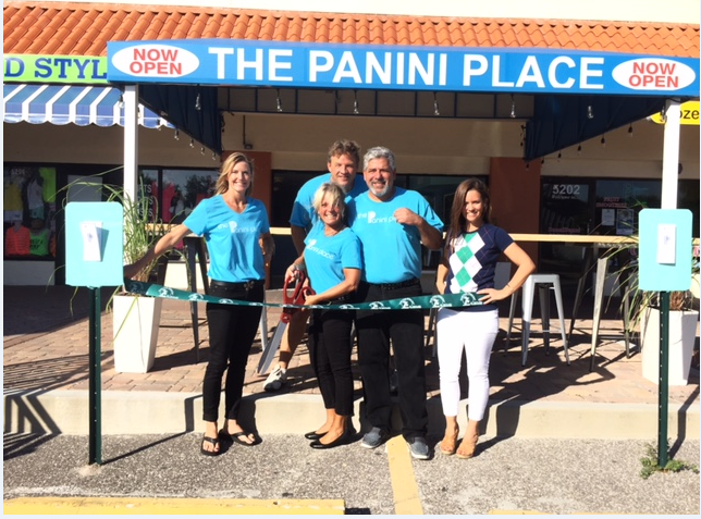Ribbon cutting November 6, owners Heidi and Patrick Crino, Kathy and John Mongiello with Desiree Hanright from the Siesta Key Chamber of Commerce.