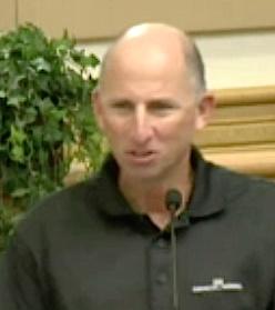Tony Romanus addresses the County Commission in December. Sarasota News Leader photo