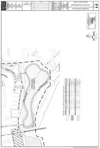 A schematic shows a rain garden to be constructed as part of the park's improvements.
