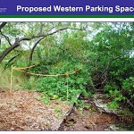 A county staff photo shows the area of the proposed western parking space on Siesta Key Circle. County photo
