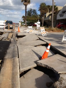 Damage from Hurricane Sandy was evident on North Beach Road in late October 2012. Image courtesy Sarasota County
