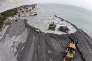 courtesy Sarasota County: The new beach being constructed near the southernmost house on Siesta Key.