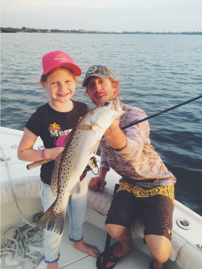 Isla of Sarasota, Fl. caught and released this beautiful speckled trout while fishing with Captain Clark Wright of CB's Saltwater Outfitters. (Isla's Mom, Ashley Little  manages  CB's  Island Outfitters)
