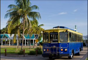 One of the six trolleys Lee County uses on Fort Myers Beach