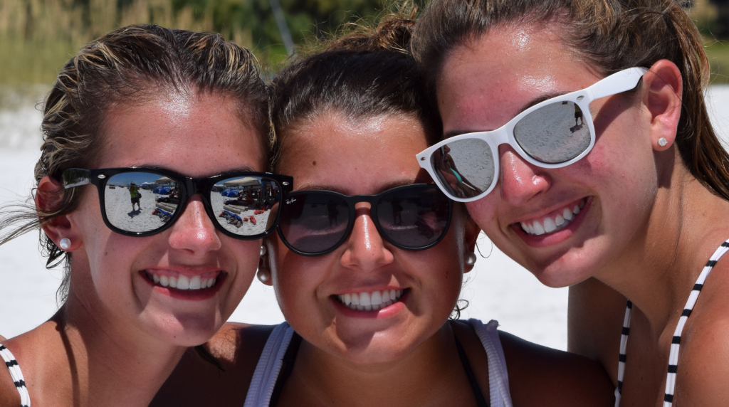 Cincinnati Connection -  Sarah Parks (16), Emma Brunst (15) and Sophia Griffiths (16) of Cincinnati enjoying two weeks of all that incredible Siesta Beach has to offer. Sophia has been visiting her grandmother at Palm Bay Club for about 10 years. First time visitors, Sarah and Emma love the sand and crystal-clear water.