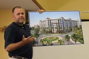 Todd Mathes from Benderson Development discussing the Siesta Promenade project at a recent SKA meeting